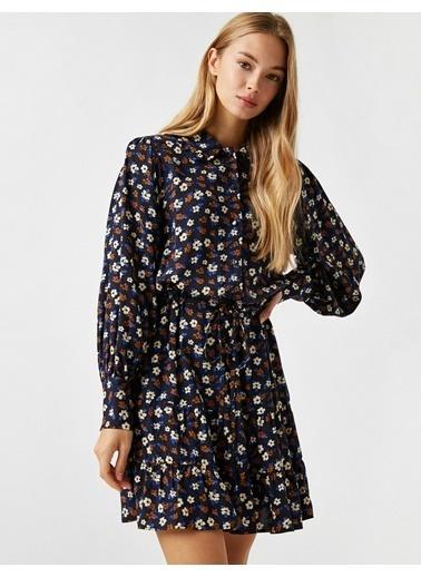 Koton Gömlek Yaka Çiçek Desenli Kisa Elbise Lacivert